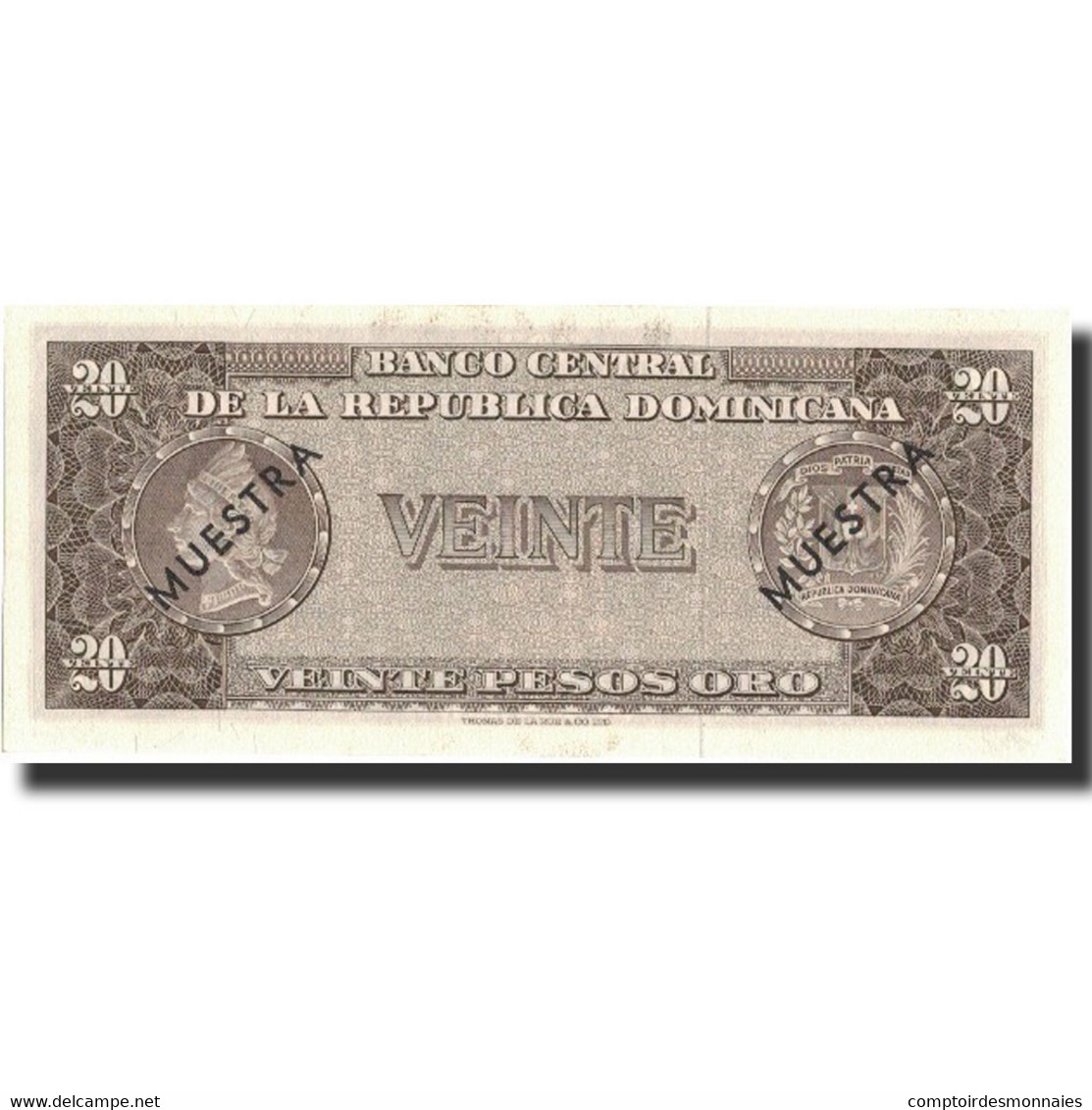 Billet, Dominican Republic, 20 Pesos Oro, Undated (1964-74), Specimen, KM:102s2 - Dominicaine