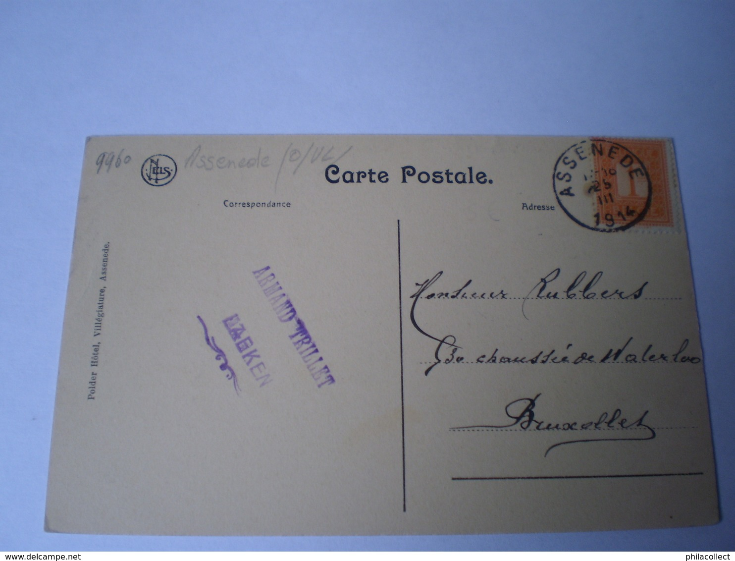 Assenede (Eeklo) Kreek De Grote Geule // Gelopen 1914 - Assenede