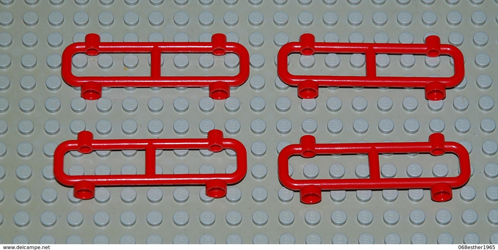 LEGO 4 X Barrière Clôture Ref 2486 Rouge 1x8x2 - Lego Technic