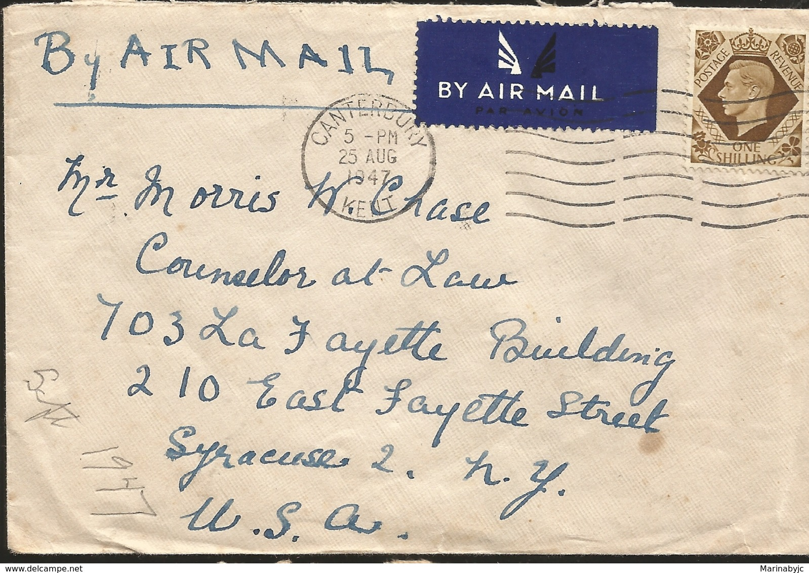 M) 1947,  ENGLAND, AIR MAIL, ONE SHILLING, POSTAL STAMP OF COLOR BROWN, AND A ,MAN WITH CROWN, CIRCULATED COVER FROM ENG - Sonstige - Europa