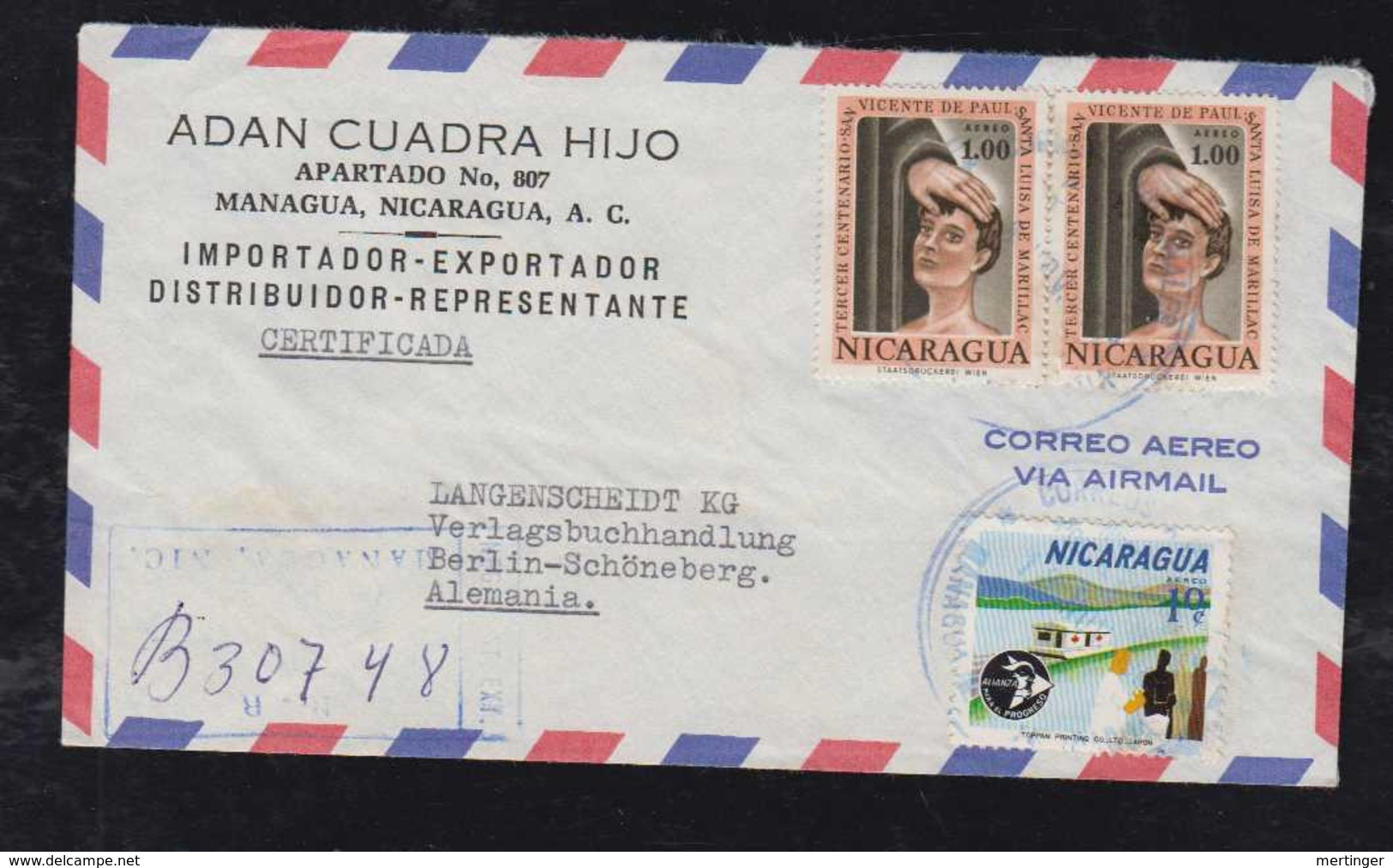 Nicaragua 1964 Registered Airmail Cover MANAGUA To BERLIN Germany CARITAS + Red Cross Stamps - Nicaragua