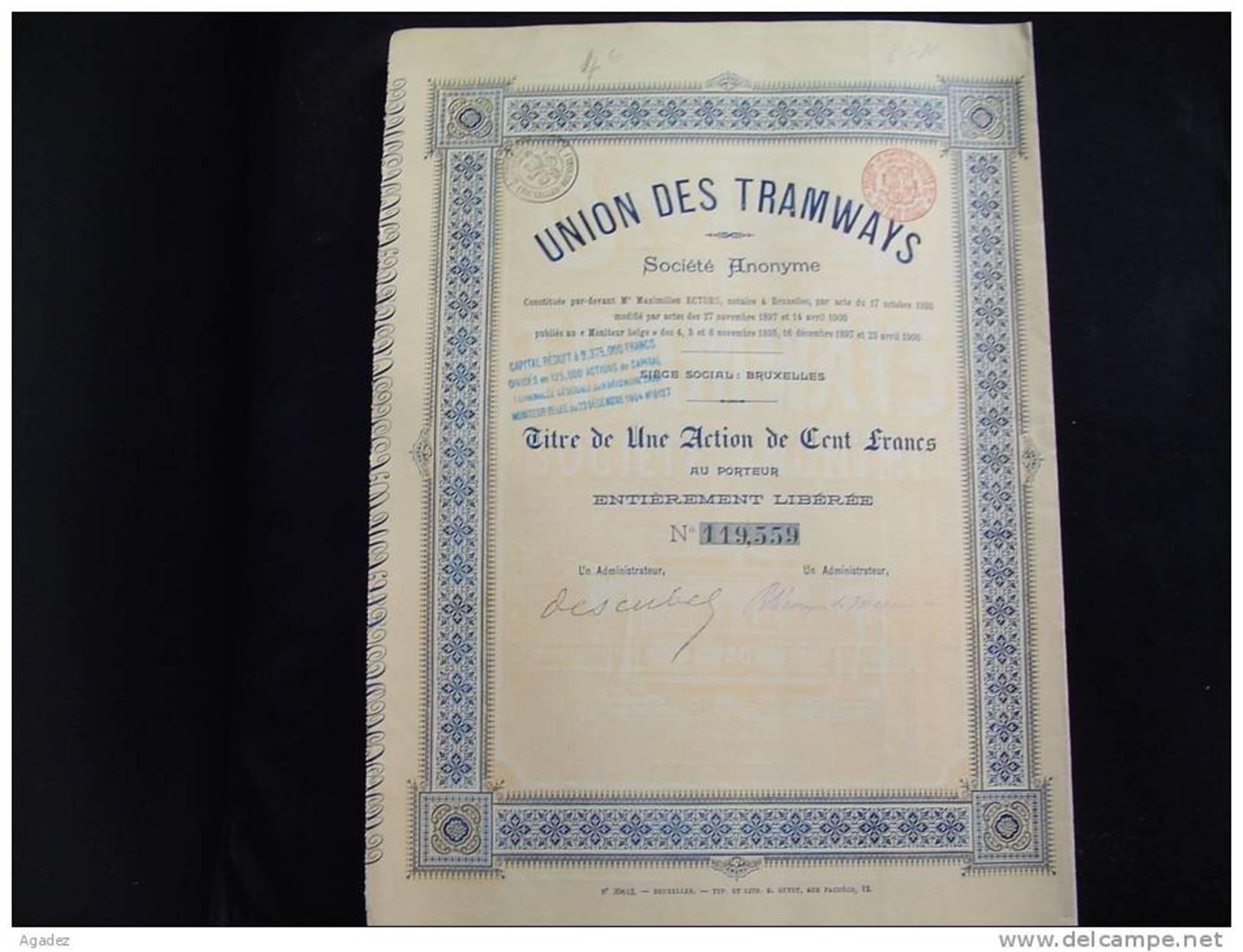 """Action""""Union Des Tramways""""Bruxelles 1900 Bon état ,reste Des Coupons - Chemin De Fer & Tramway"""