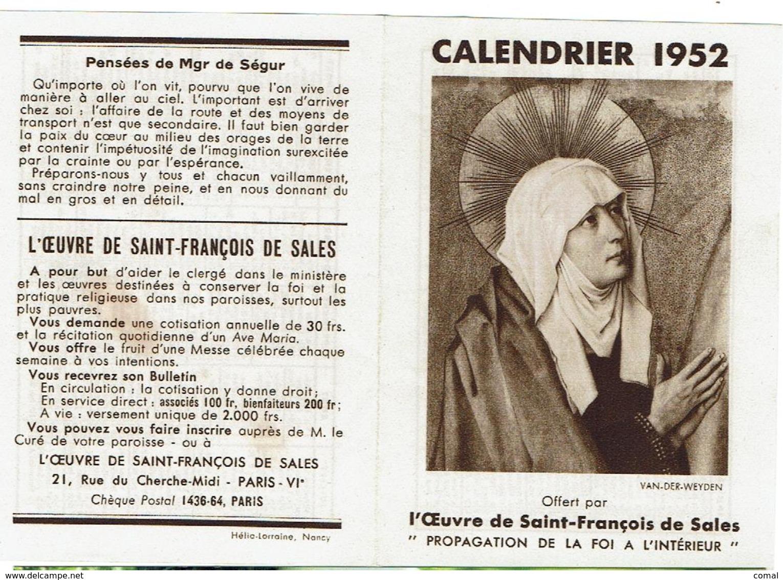 CALENDRIER 1952 - L'oeuvre De Saint-François De Sales - Papier Petit Format - Ouvert 14cm X9,8cm - Calendriers