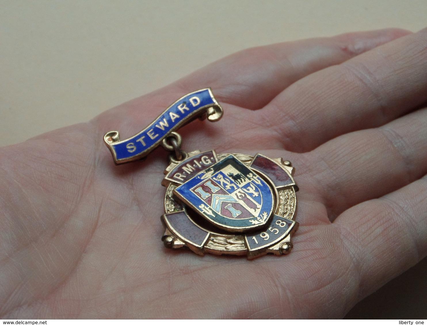 MASONIC - STEWARD R.M.I.G. 1958 ( 19.1 Gr. - See Photo) Brooch ! - Jetons & Médailles