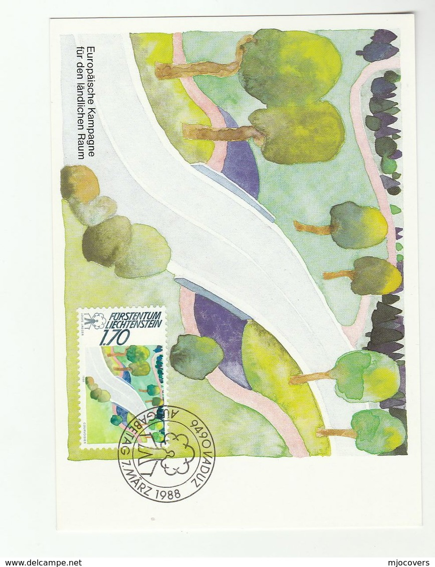 1988 EUROPEAN COUNTRYSIDE CAMPAIGN Maximum Card LIECHTENSTEIN Fdc Stamps Environment - Environment & Climate Protection
