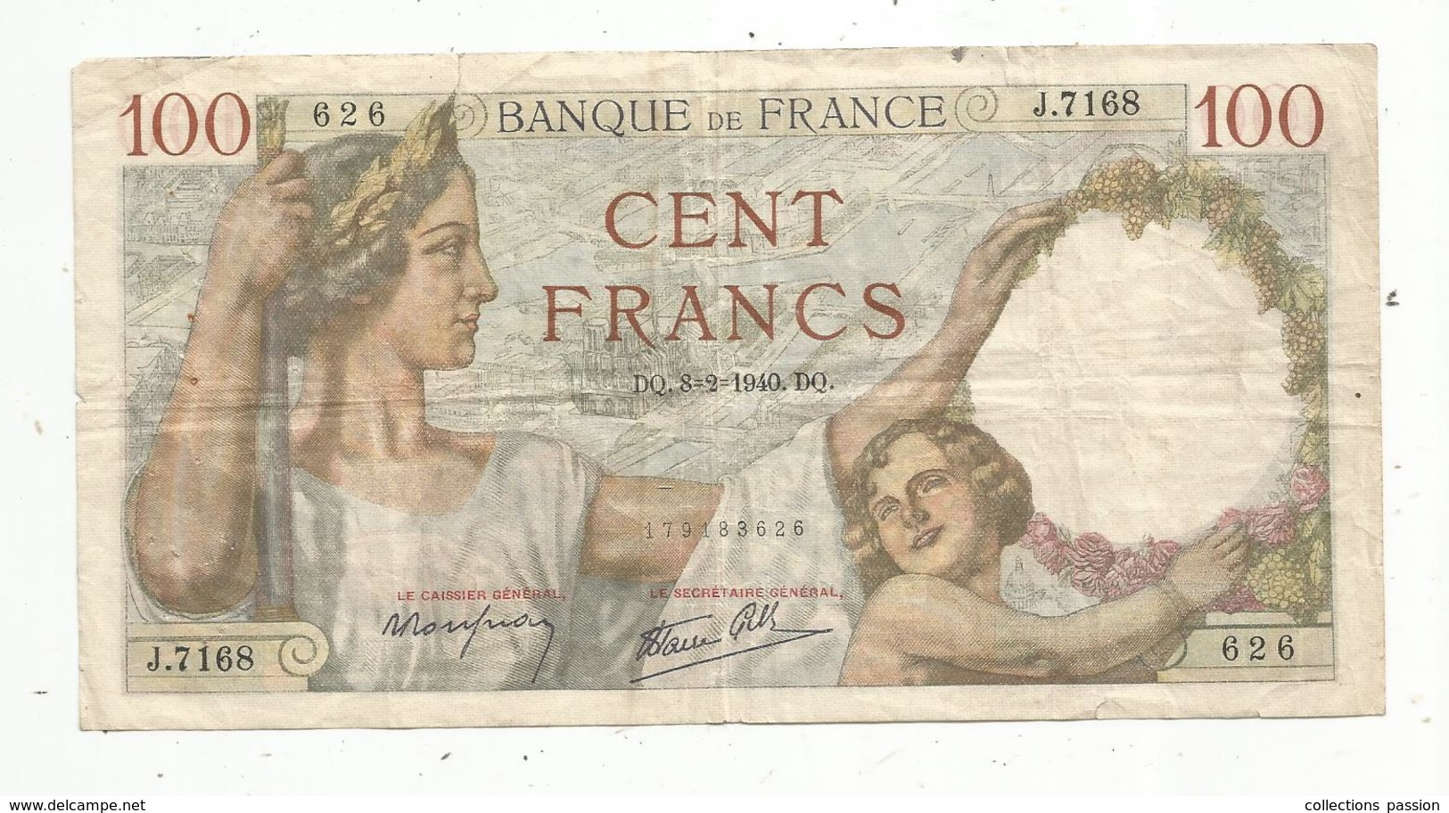Billet , Cent Francs ,100 , 8-2-1940 , 2 Scans, Frais Fr 1.45 E - 1871-1952 Gedurende De XXste In Omloop