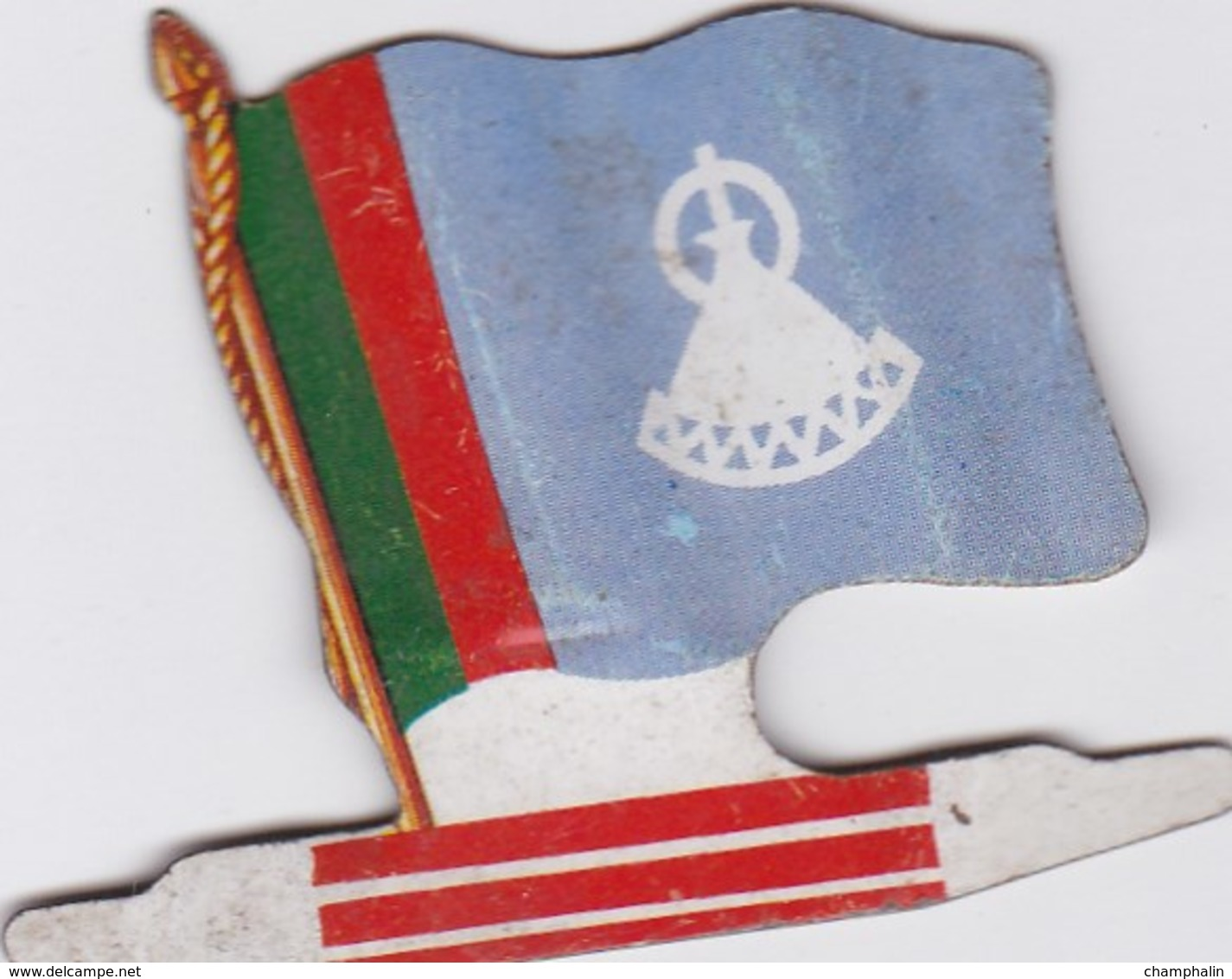 Figurine Publicitaire Biscuits L'Alsacienne Petit-Exquis - Drapeau - Lesotho - Années 60/70 - Tôle - Africorama - Reklame