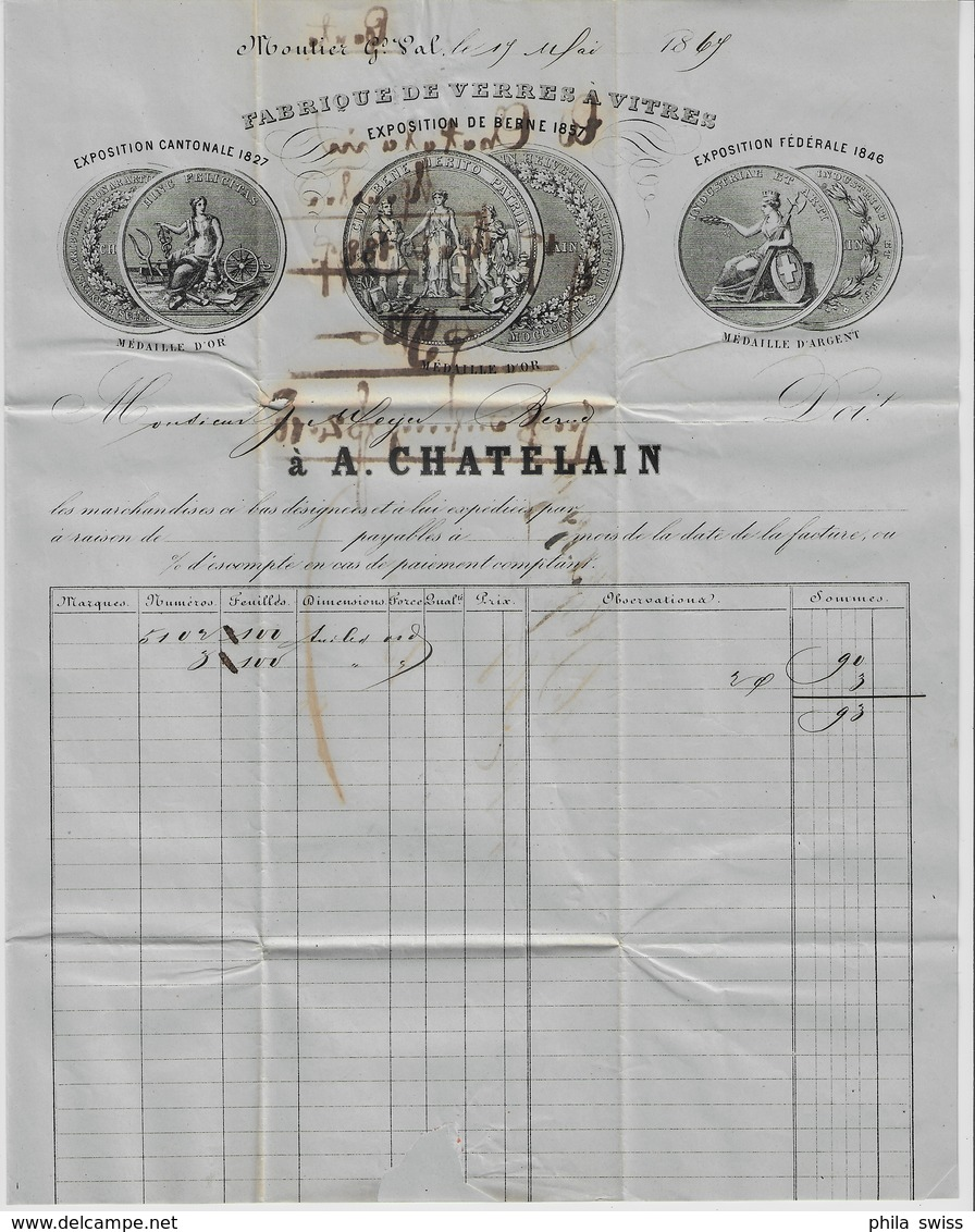 1869 Sitzende Helvetia/Helvétie Assise 38/30 Moutier (Fingerhutstempel) 17. Mai 69 To Bern (Fabrique De Verres A Vitres) - 1862-1881 Sitzende Helvetia (gezähnt)