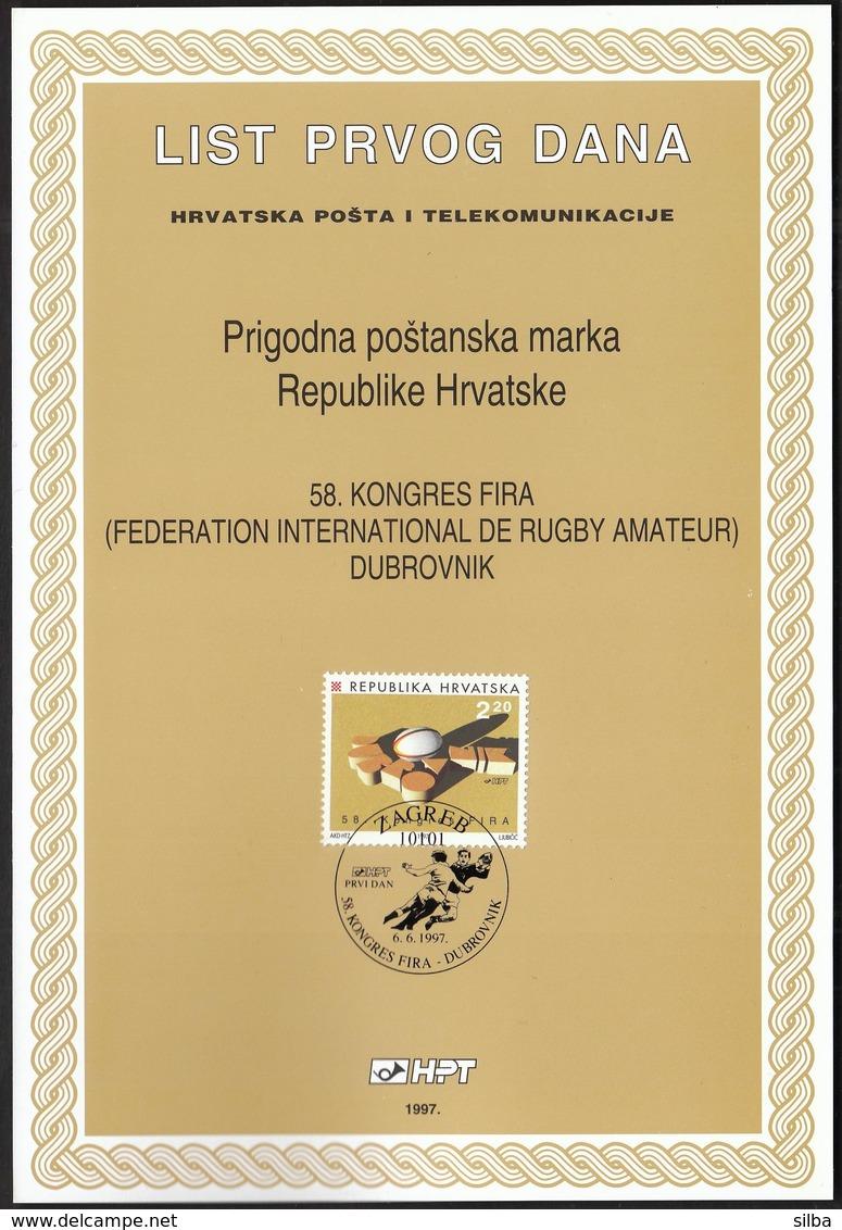 Croatia 1997 / FIRA Dubrovnik - Rugby Congress / First Day Sheet / ETB - Kroatien