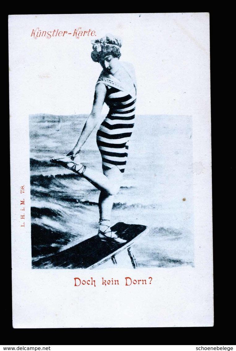 A5515) Künstlerkarte Mädchen Badeanzug Ungebraucht Unused - Künstlerkarten