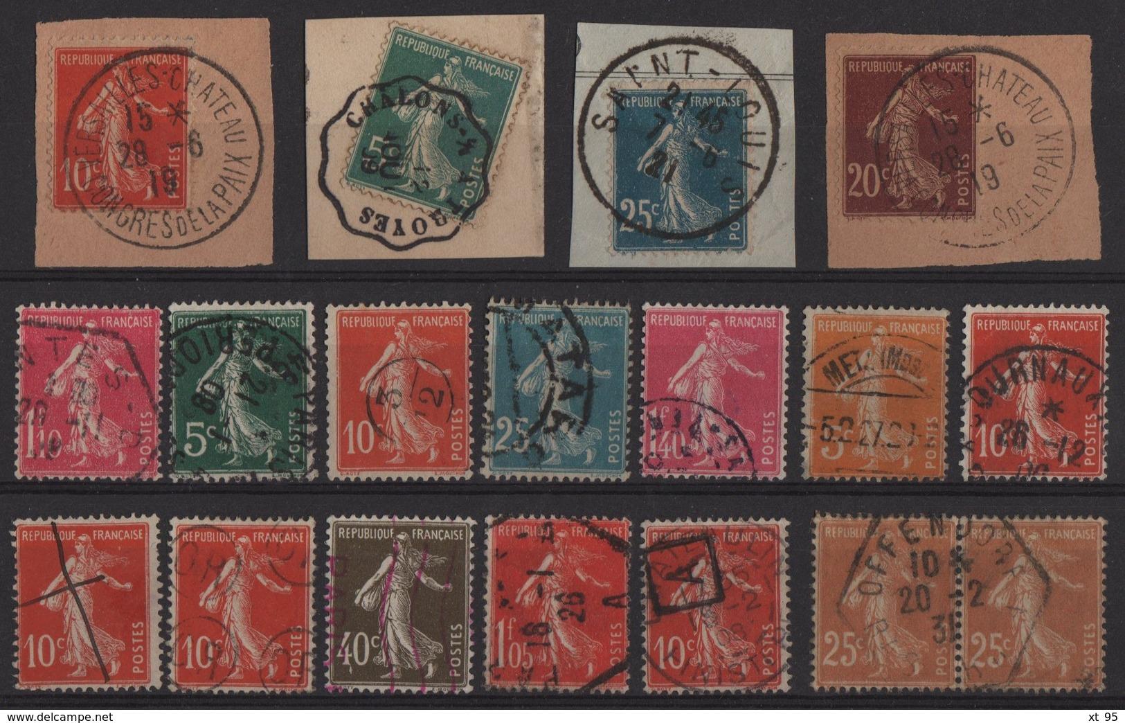 Type Semeuse - Petite Selection D Obliteration Sur Type Semeuse - 1906-38 Säerin, Untergrund Glatt