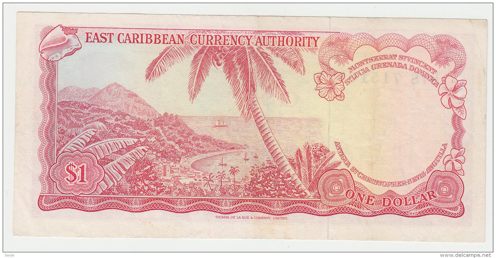 East Caribbean States 1 Dollar 1965 VF++ CRISP Banknote P 13g 13 G - Caraïbes Orientales