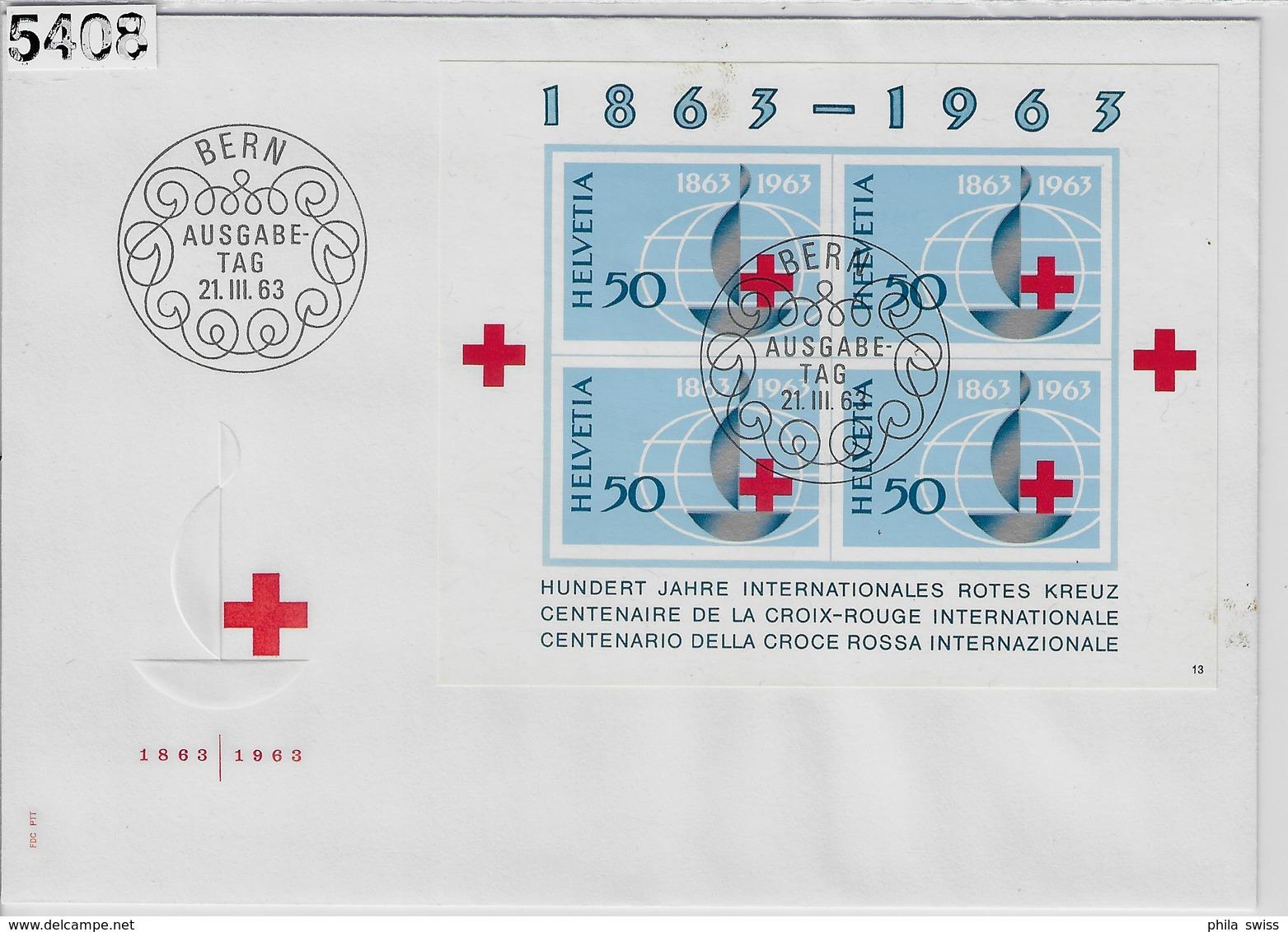 1963 Block Bloc Rotes Kreuz W40/Bl. 19 FDC Bern Ausgabetag 21.III.63 - FDC