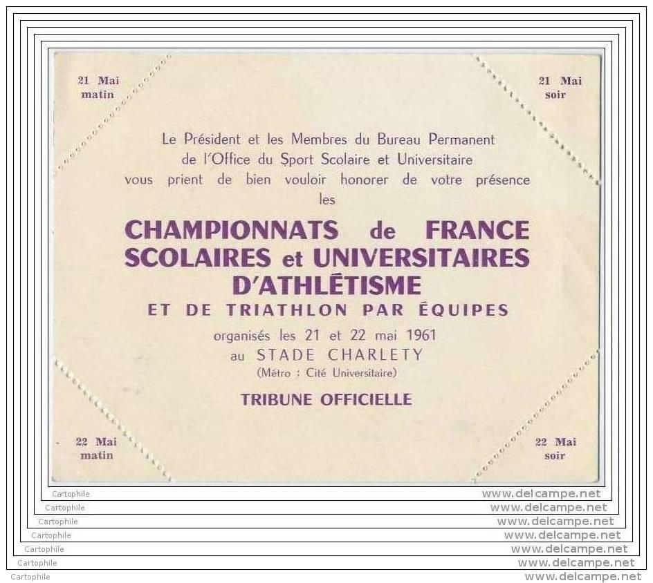Championnat De France D Athletisme Scolaire Et Universitaire Au Stade Charlety 1961 - Non Utilise - Cartes De Visite