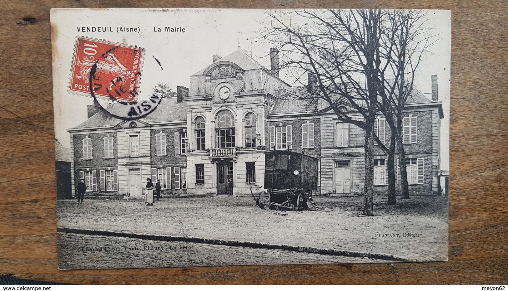 CPA  VENDEUIL  ( AISNE ) - LA MAIRIE - BELLE ANIMATION - Otros Municipios