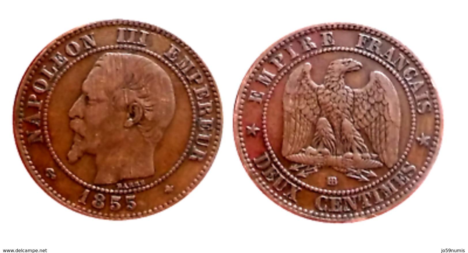RARE!!! NAPOLÉON III 2 Centimes 1855 BB (Strasbourg) ANCRE A VOIR!!! - B. 2 Centimes