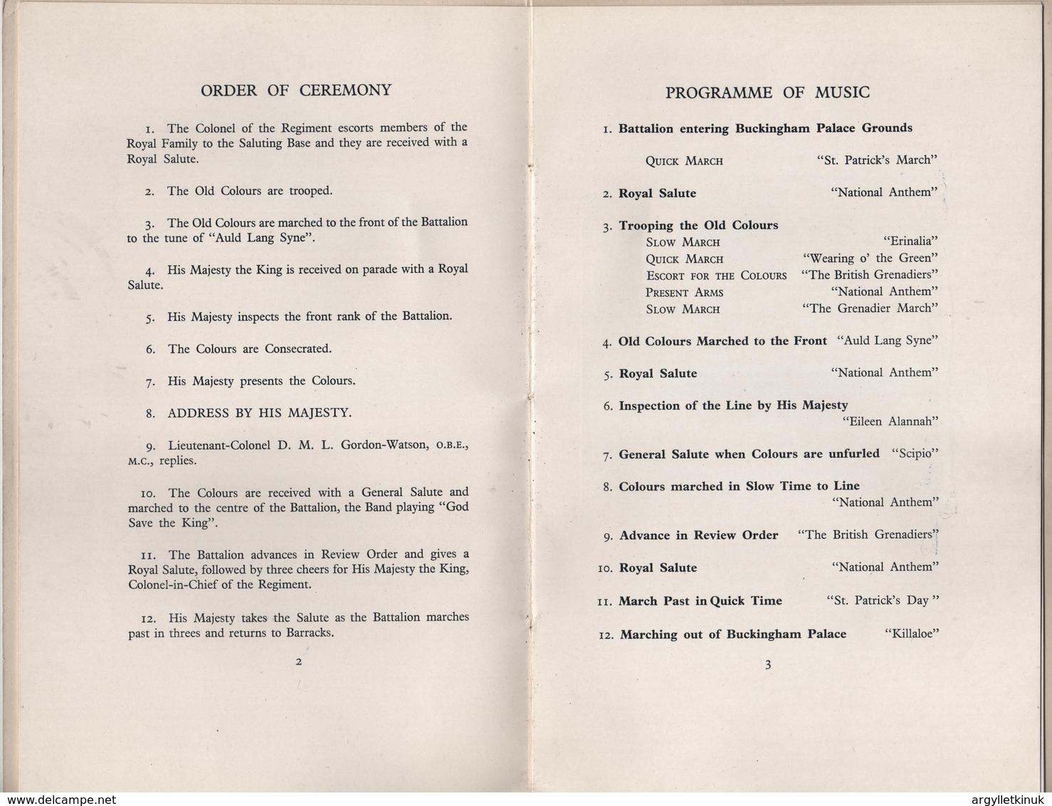 KING GEORGE 6TH IRISH REGIMENT BUCKINGHAM PALACE COLOURS 1949 - British Army