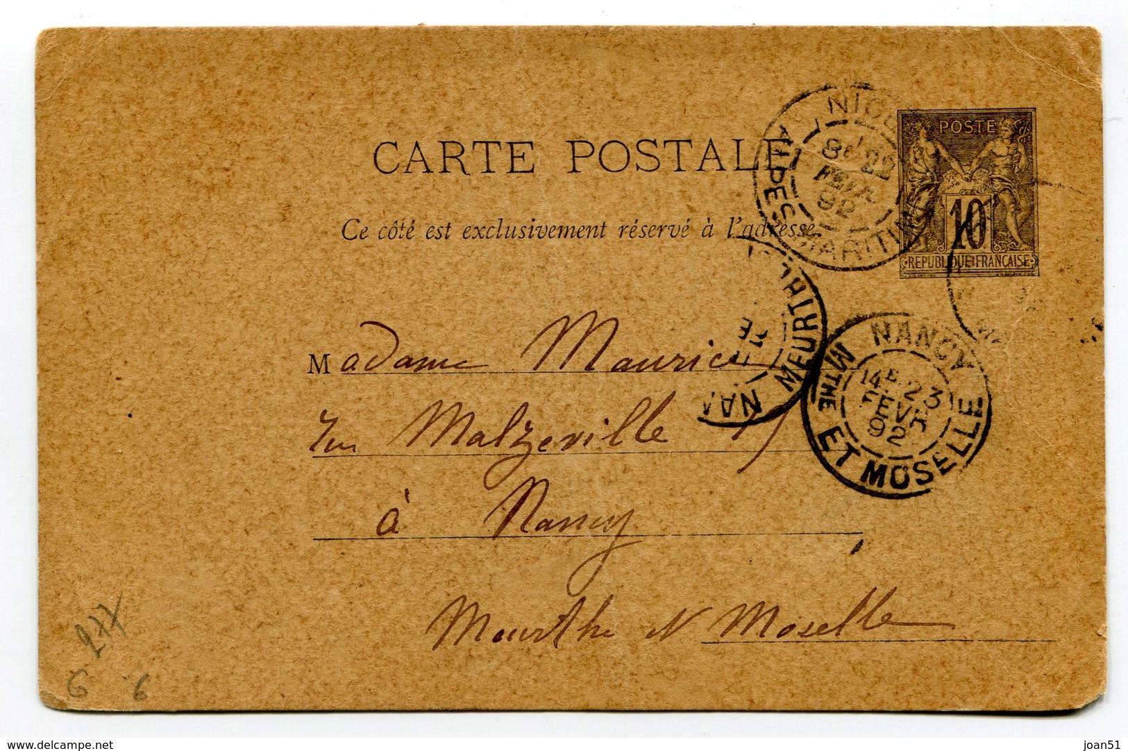 M32 :  ENTIER PAIX ET COMMERCE 10c 1892 - Postal Stamped Stationery