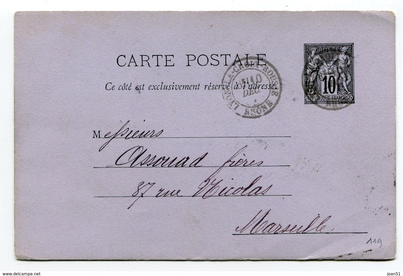 M32 :  ENTIER PAIX ET COMMERCE 10c 1885 LYON A CROIX ROUSSE - Postal Stamped Stationery