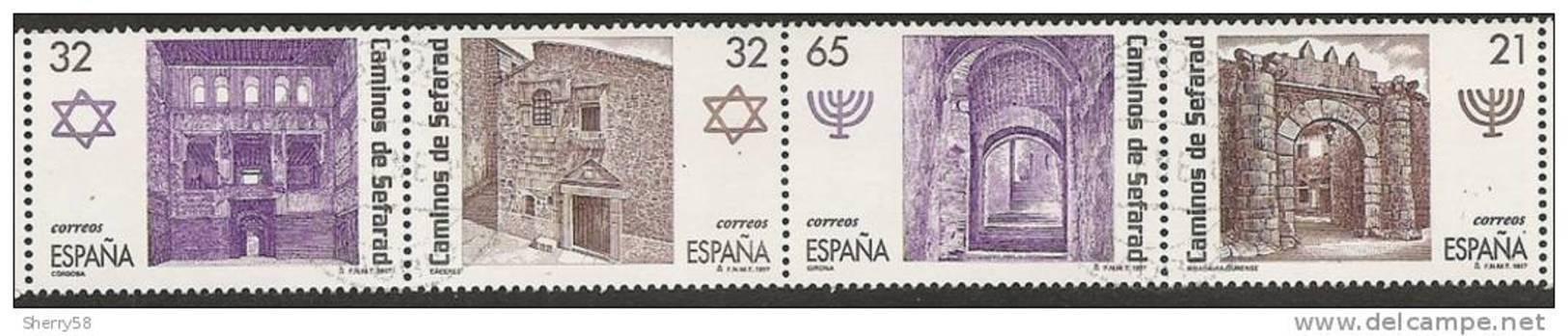 1997-ED. 3520 A 3523-EN TIRA-RUTA DE LOS CAMINOS DE SEFARAD-USADO - 1931-Aujourd'hui: II. République - ....Juan Carlos I