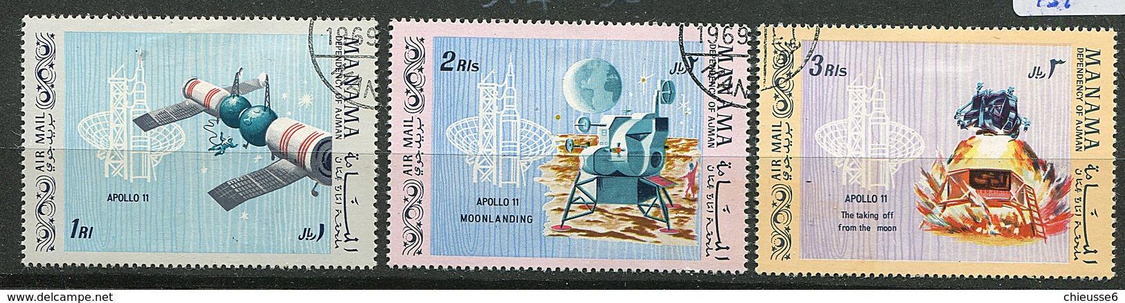 Manama Ob Michel N° 213 A à 215 A - Apollo 11 - - Manama