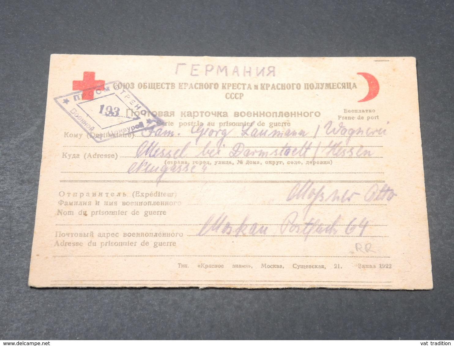 U.R.S.S. - Carte De Prisonnier De Guerre De Moscou Pour L 'Allemagne En 1946 - L 18853 - 1923-1991 USSR