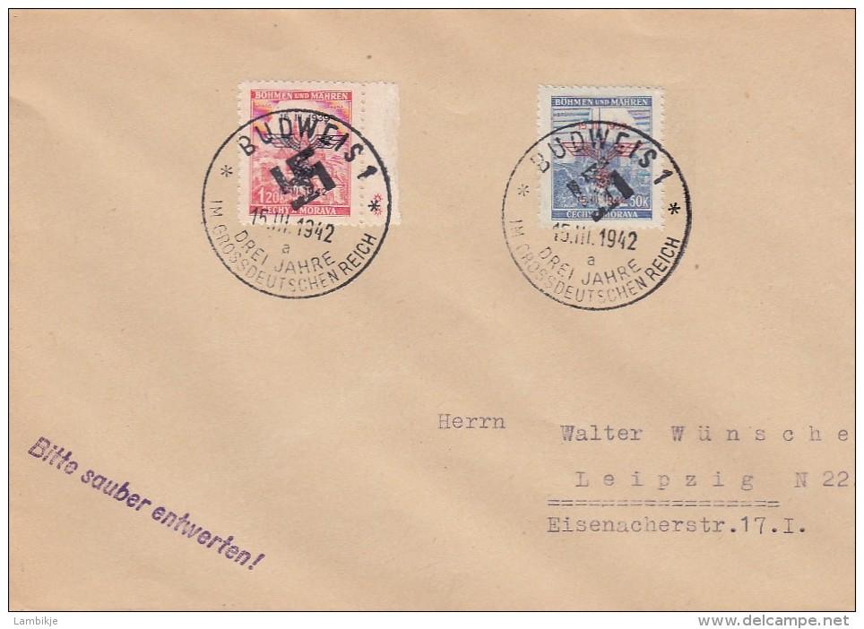 Deutsches Reich Bohmen Und Mahren Brief 1942 3 Jahre Reich - Allemagne