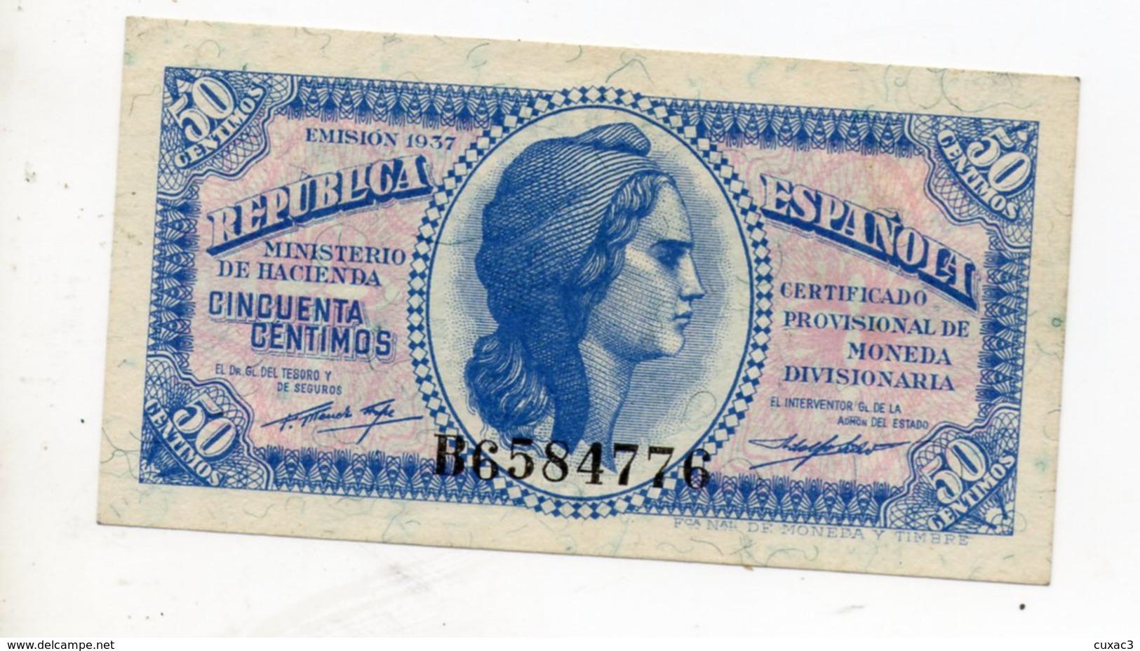 50 CENTIMOS 1937 - [ 1] …-1931 : Eerste Biljeten (Banco De España)