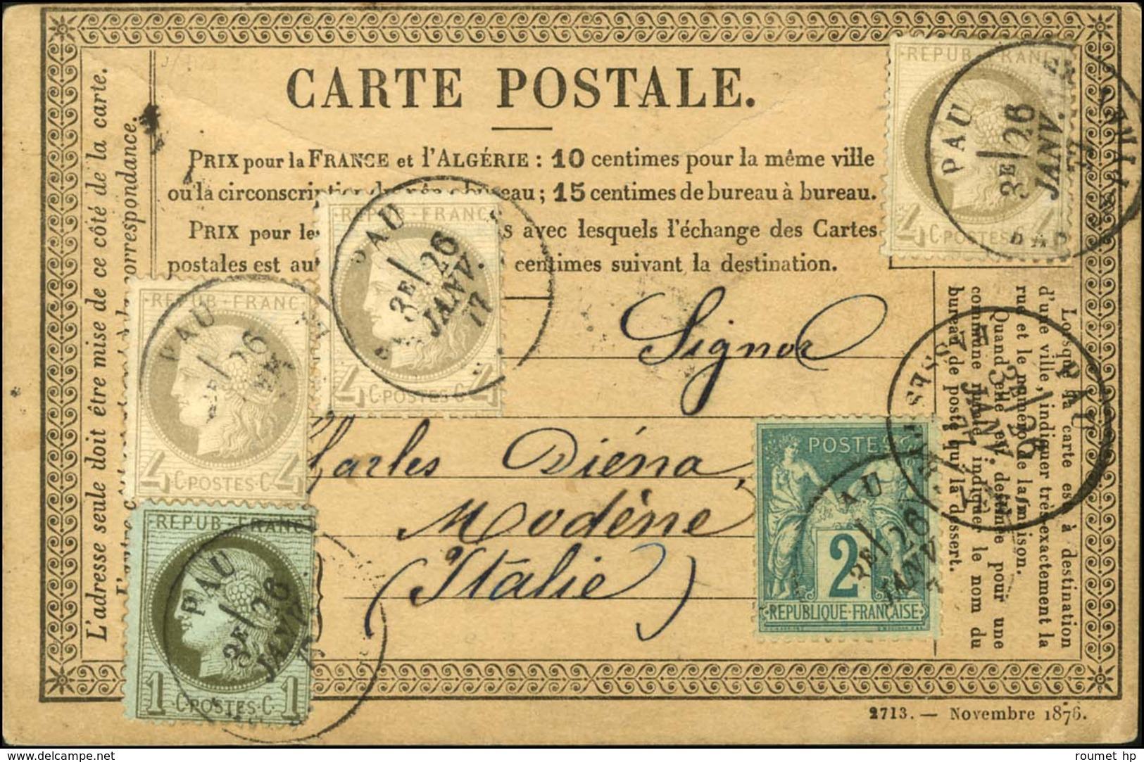 Càd T 18 PAU / BASSES PYRENEES / N° 50 + 52 (3) + 74 Sur CP Pour Modène (Italie). 1877. Bel Affranchissement. - TB. - R. - 1871-1875 Ceres