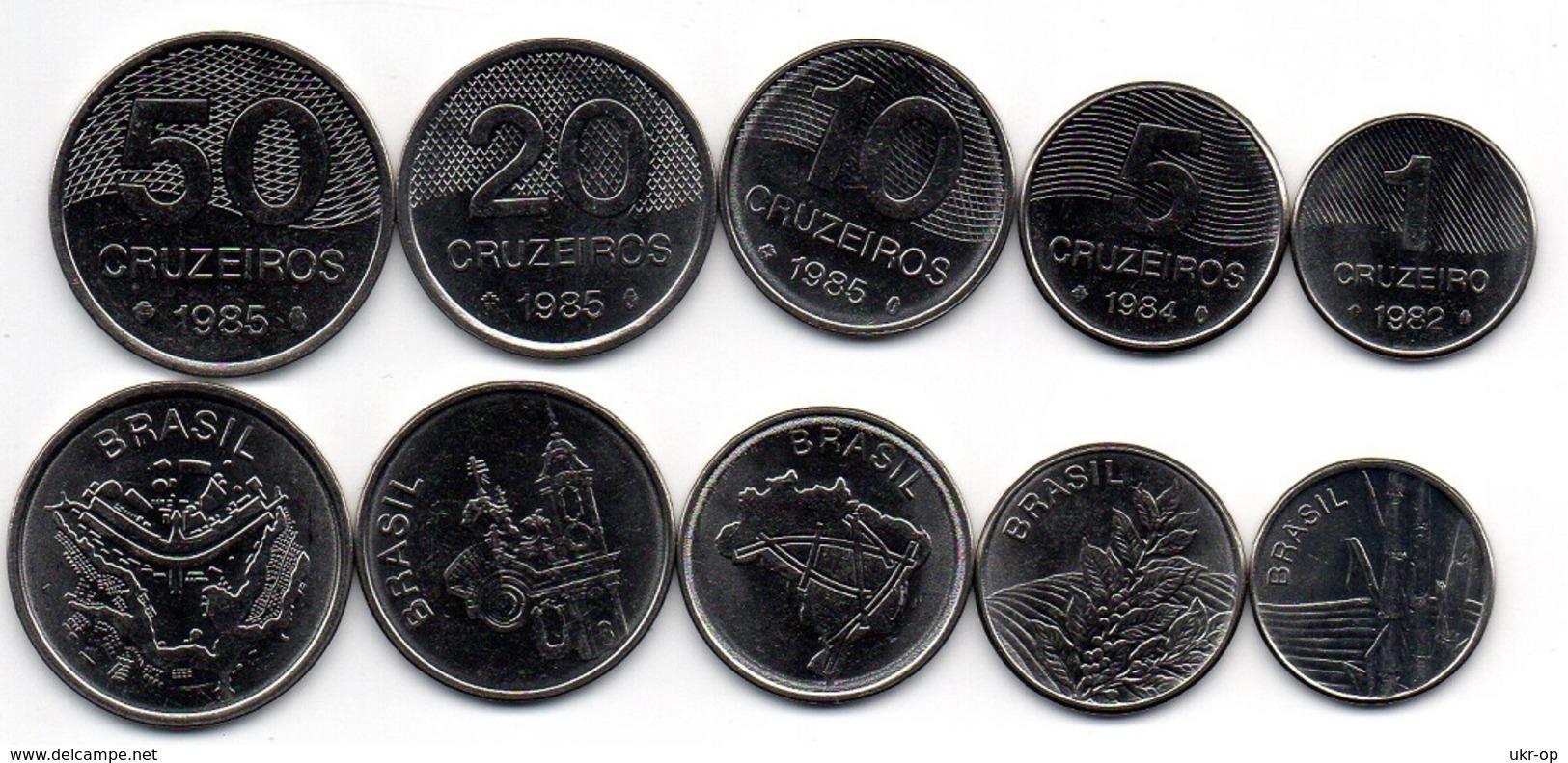 Brazil - 1 5 10 20 50 Cruzeiros 1982 - 1985 UNC Set 5 Coins Ukr-OP - Brazil