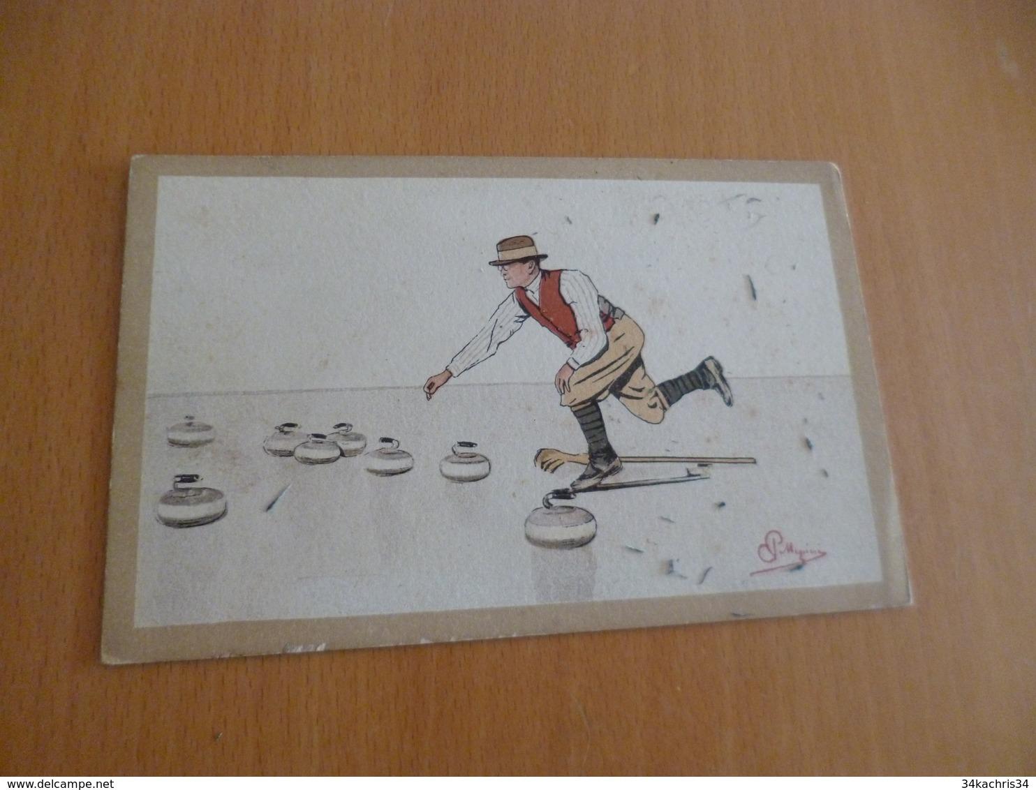 CPA Curling Illustrée Par Mégioni - Postales