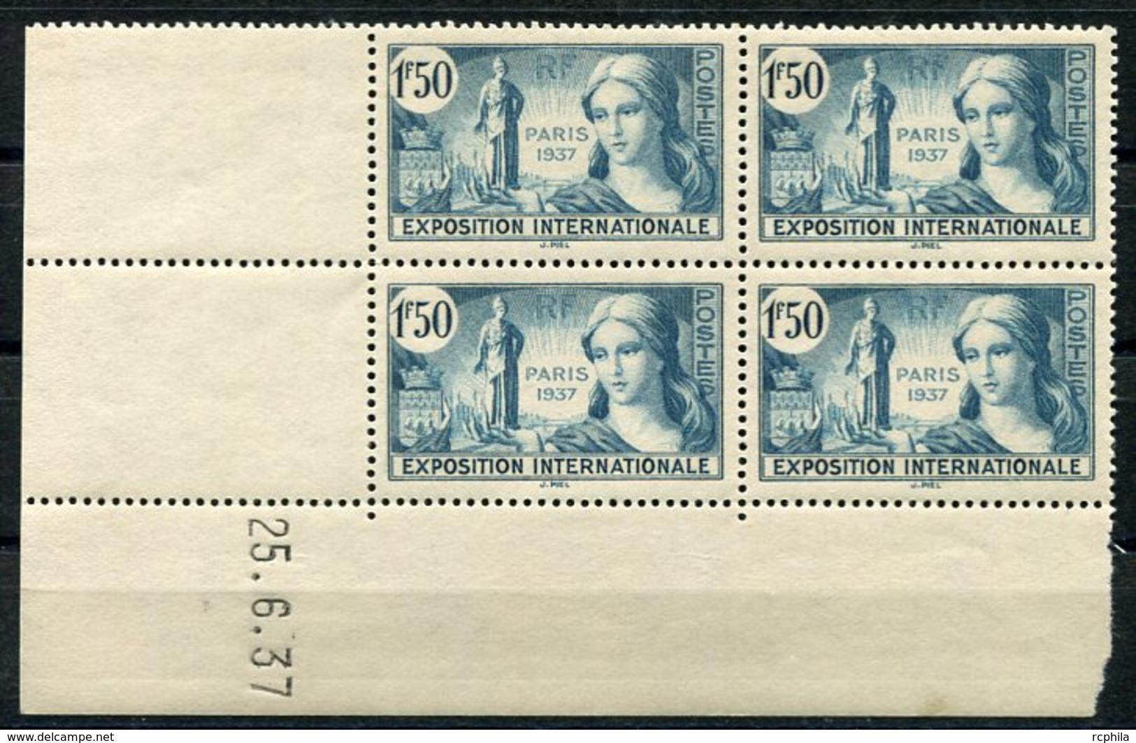RC 9109 FRANCE N° 336 - EXPOSITION INTERNATIONALE DE PARIS 1937 COIN DATÉ NEUF ** - Unused Stamps