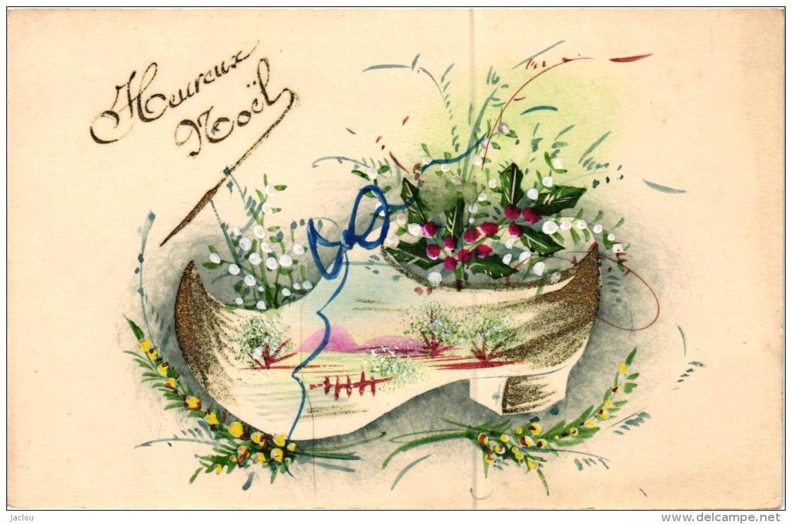 HEUREUX  NOEL ,SABOT PEINT ET HOUX REF 56357 - Christmas