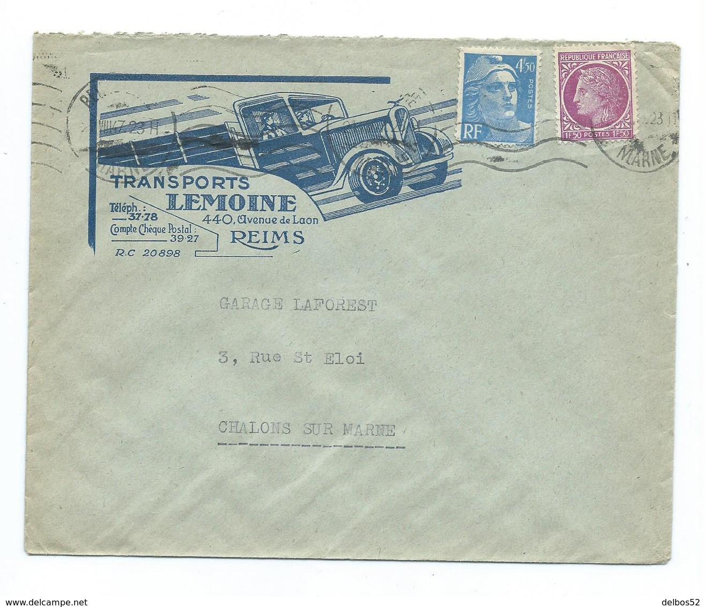 Enveloppe Commerciale (camion) Affranchissement Mixte Mazelin  - Gandon - Reims Marne - Marcophilie (Lettres)