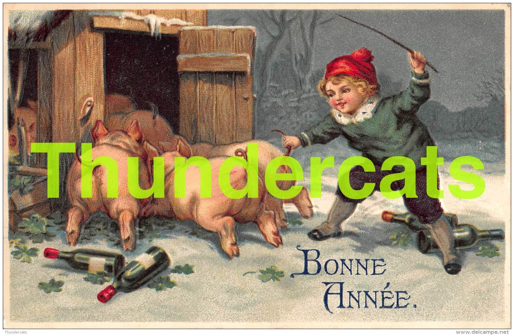 CPA EN RELIEF GAUFREE GARCON   COCHON EMBOSSED CARD BOY   PIG - Cochons