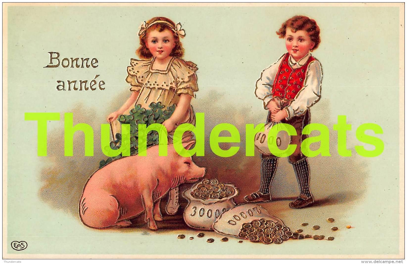 CPA EN RELIEF GAUFREE GARCON FILLE  COCHON EMBOSSED CARD BOY  GIRL PIG  EAS - Cochons