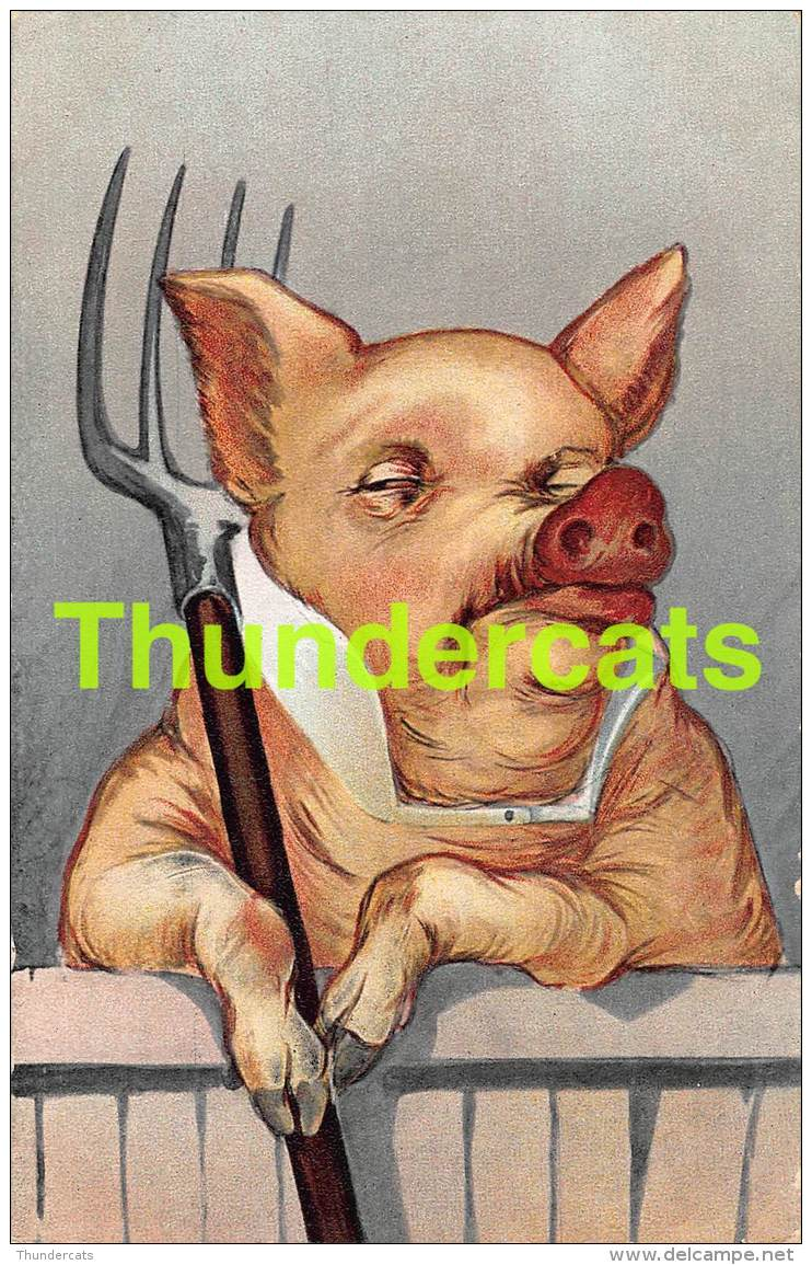 CPA ILLUSTRATEUR COCHON HUMANUISE ARTIST SIGNED HUMANIZED PIG - Cochons