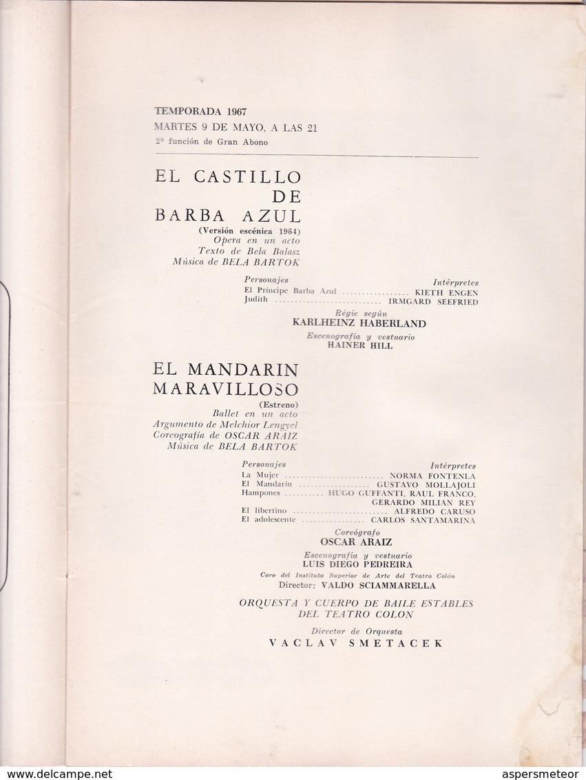 EL CASTILLO DE BARBA AZUL Y EL MANDARIN MARAVILLOSO BARTOK-AUTOGRAPH VACLAV SMETACEK, ISCAR ARAUZ, NORMA FONTENLA BLEUP - Autogramme & Autographen