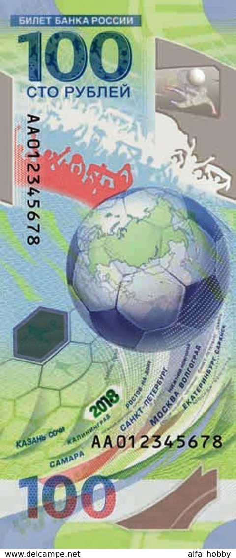 Russia, 2018, FIFA Football World Cup 2018, Polymer 100 Rbl Rubles Note - Russia