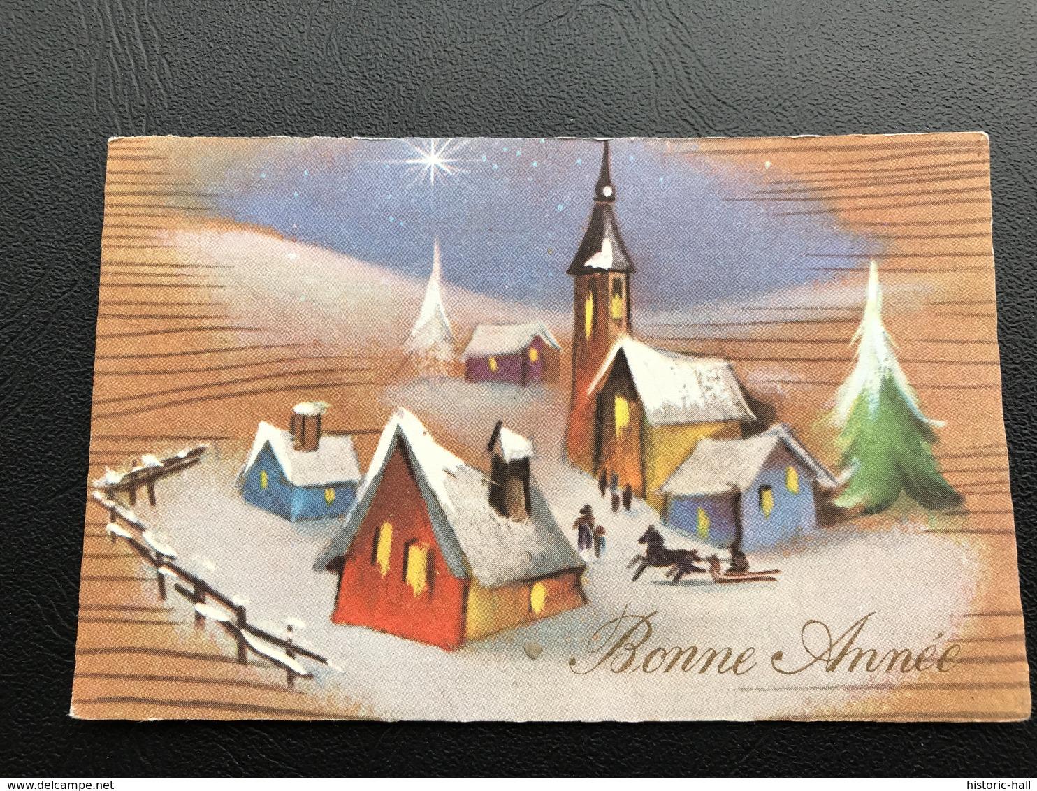 BONNE ANNEE Dessin Village Enneigé - 1966 - Neujahr