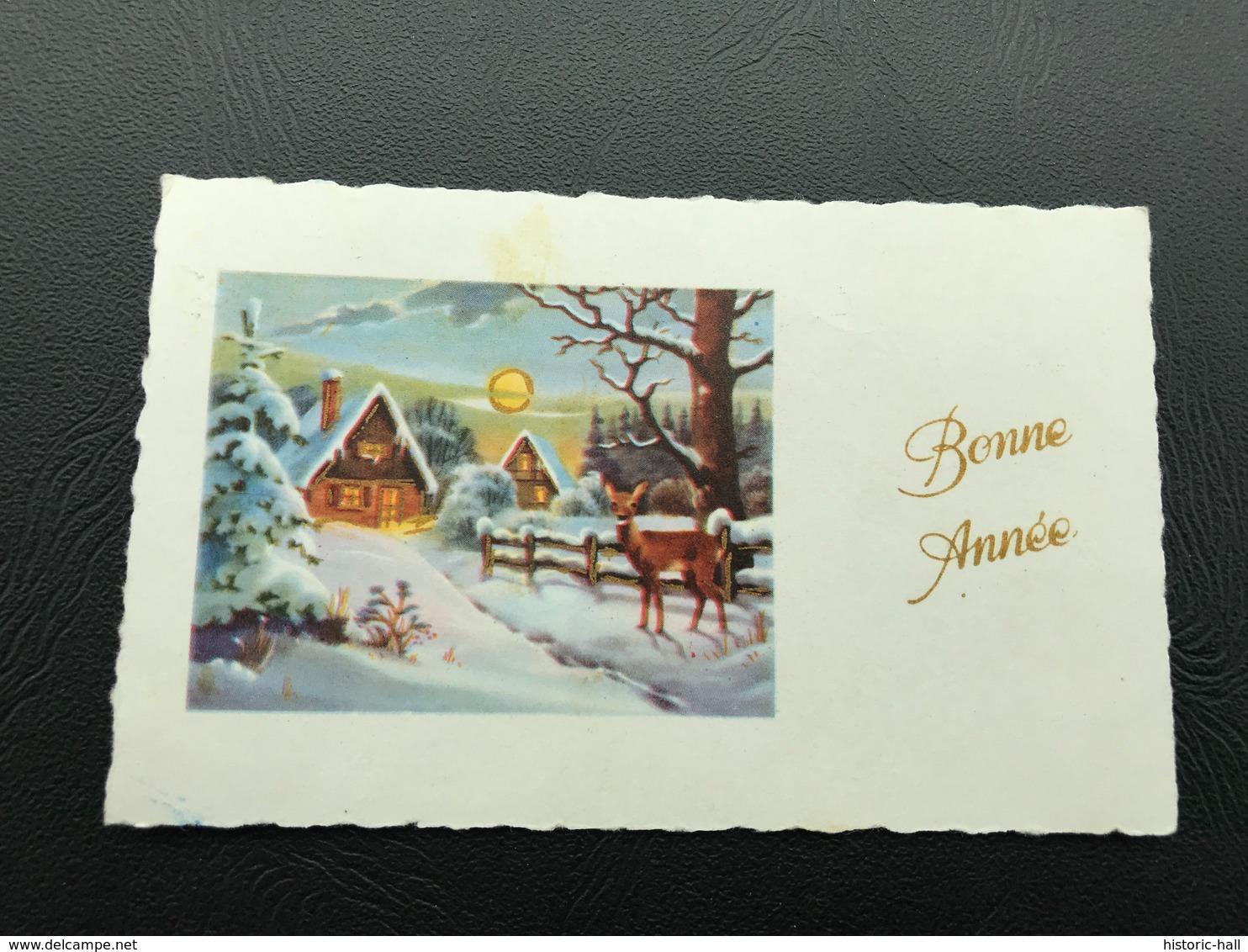 BONNE ANNEE Village Enneigé & Biche - 1971 - Neujahr