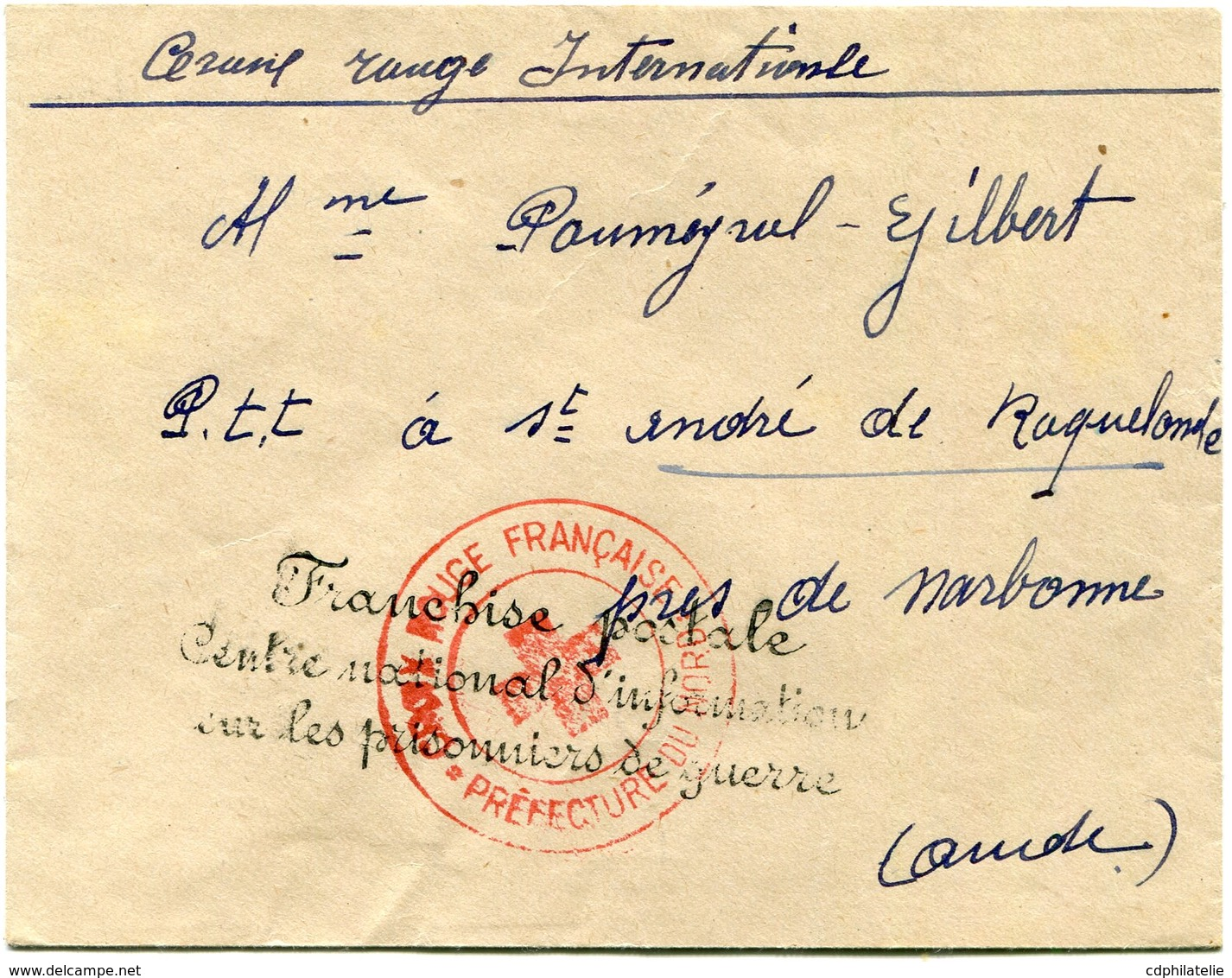 """FRANCE LETTRE AVEC CACHET """"FRANCHISE POSTALE CENTRE NATIONAL D'INFORMATION SUR LES PRISONNIERS DE GUERRE"""" .............. - Marcophilie (Lettres)"""