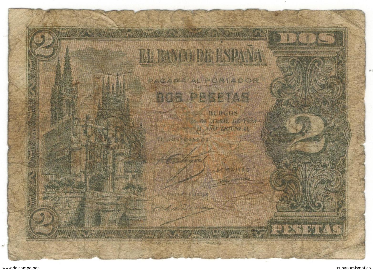 Spain 2 Pesetas 1938, Burgos, Used, See Scan. Rare. - Espagne