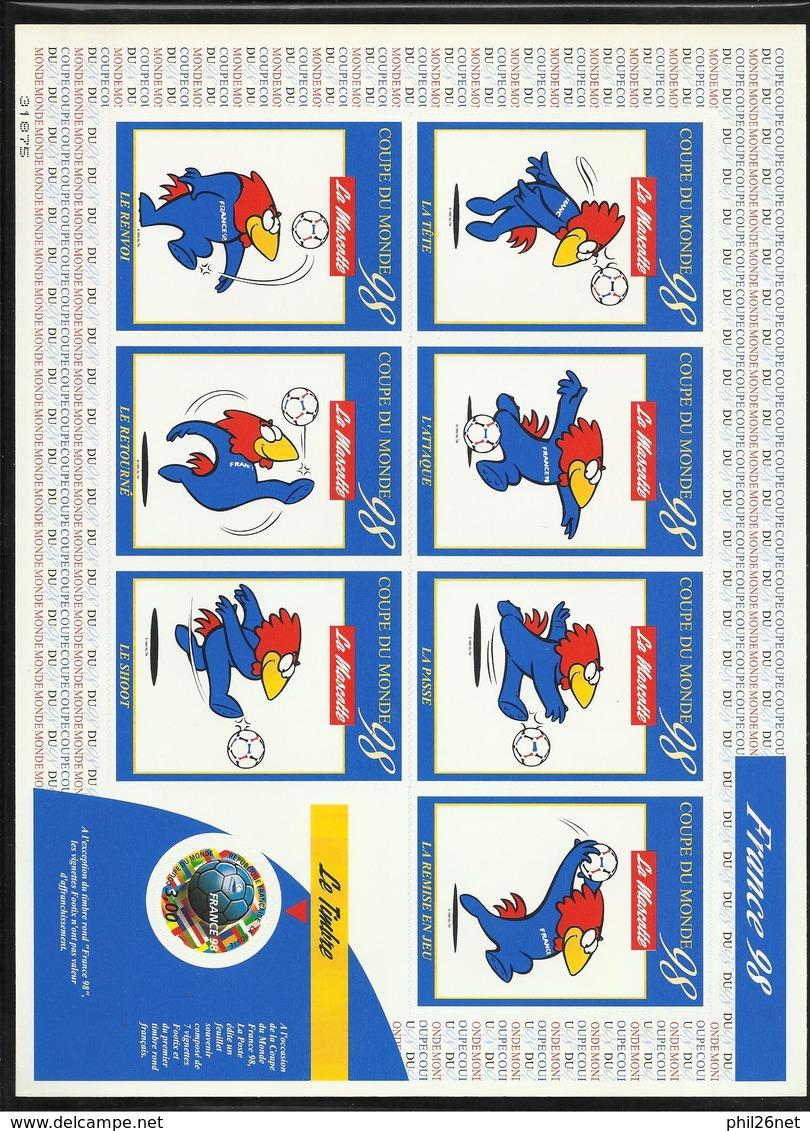 Feuillet Souvenir Autocollants Coupe Du Monde De Football France 1998 Le N° 3140 Et Les 7 Vignettes FOOTIX  TB   Soldé ! - Mint/Hinged