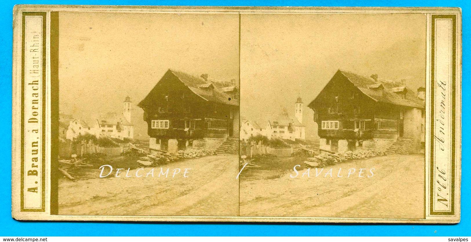 Suisse Uri - ANDERMATT - Photo Stéréoscopique Braun Vers 1865 - Voir Scans - Stereoscopic