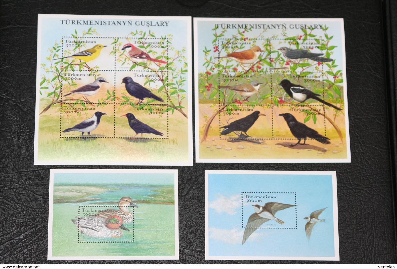 Turkmenistan 15.12.2002 Mi # 168-79 Klbg Bl 22-23 Native Birds, MNH OG - Pájaros Cantores (Passeri)