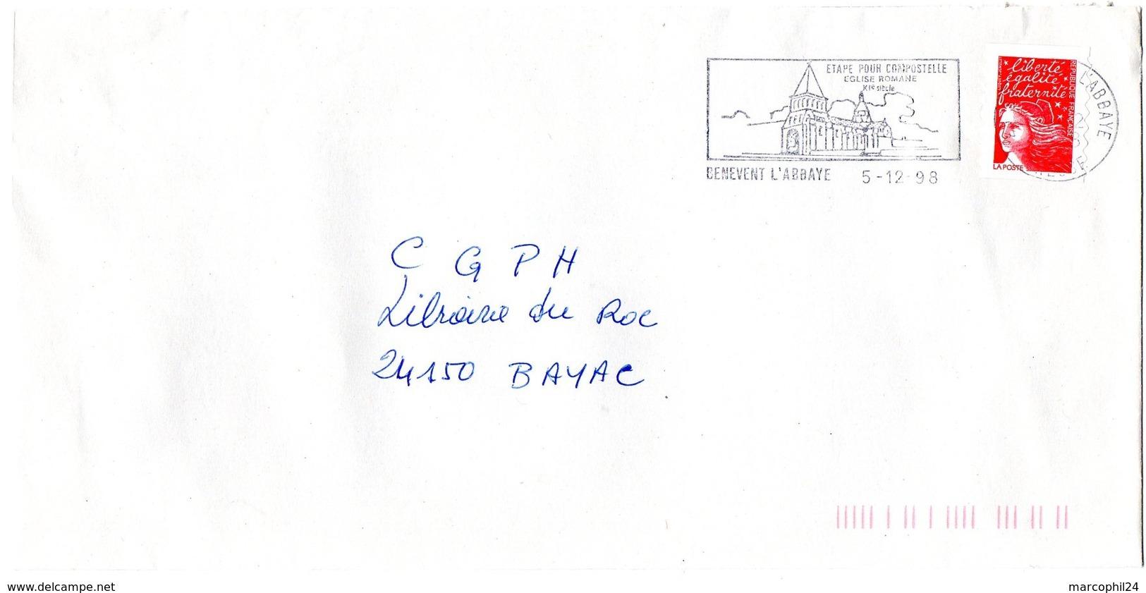 CREUSE - Dépt N° 23 = BENEVENT L' ABBAYE 1998 = FLAMME Type II = SECAP Illustrée  'ETAPE Pour COMPOSTELLE ' - Postmark Collection (Covers)