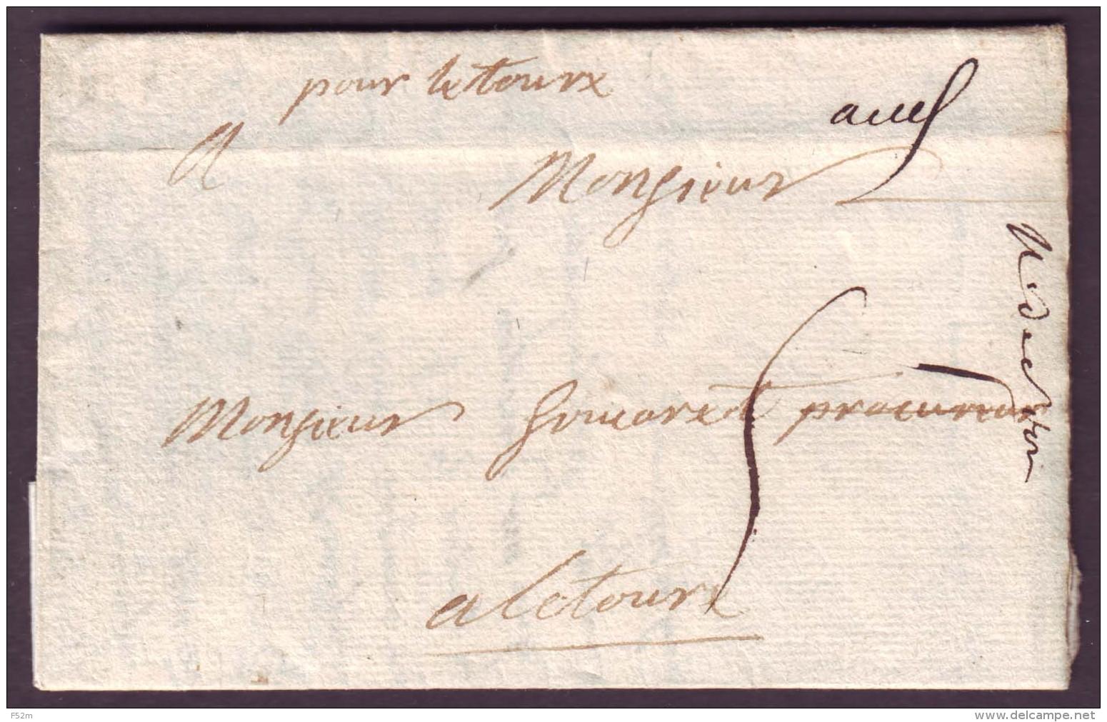 "GERS - LAC - "" Auch "" L1 Manuscrit (1742) + Taxe 5 Pour Lectours (?) - Postmark Collection (Covers)"