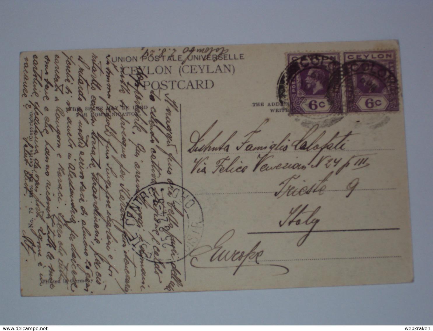 SRI LANKA CEYLON THE NEGOMBO CANAL FOR TRIESTE 1924 - Sri Lanka (Ceylon)