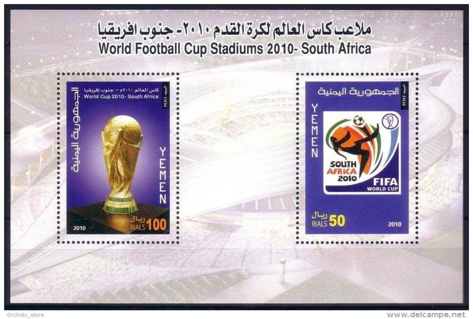 Yemen 2010 MNH World Football Cup Championship - South Africa S/S - Block - Yemen
